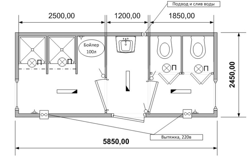 Схема (планировка) сантехнического блок-контейнера СТ-29