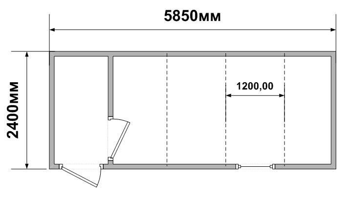 Схема планировки евробокса из сэндвич панелей СБК-02