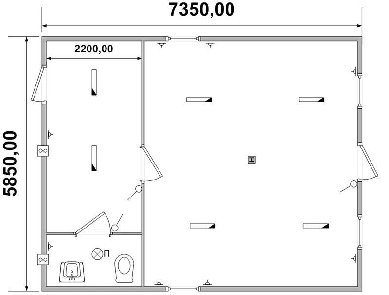 Схема (планировка) модульного здания ОМ-35