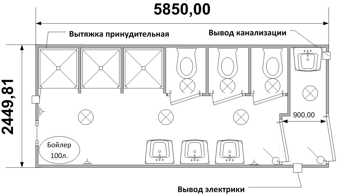 Схема (планировка) сантехнического блок-контейнера СТ-49