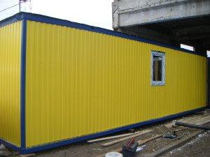 Нестандартный 9 метровый блок-контейнер желтого цвета