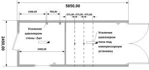 Схема планировка нестандартного блок контейнера с воротами