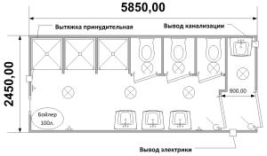 Схема планировка сантехнического блок-контейнера СТ-49