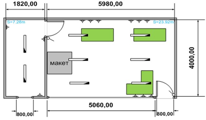 Схема планировки офиса продаж ОМ-44
